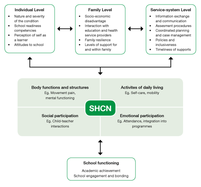 Figure 1 is a conceptual model. It assists in understanding the impact of AHDN on early school functioning. The model looks at individual, family and service-system level factors.